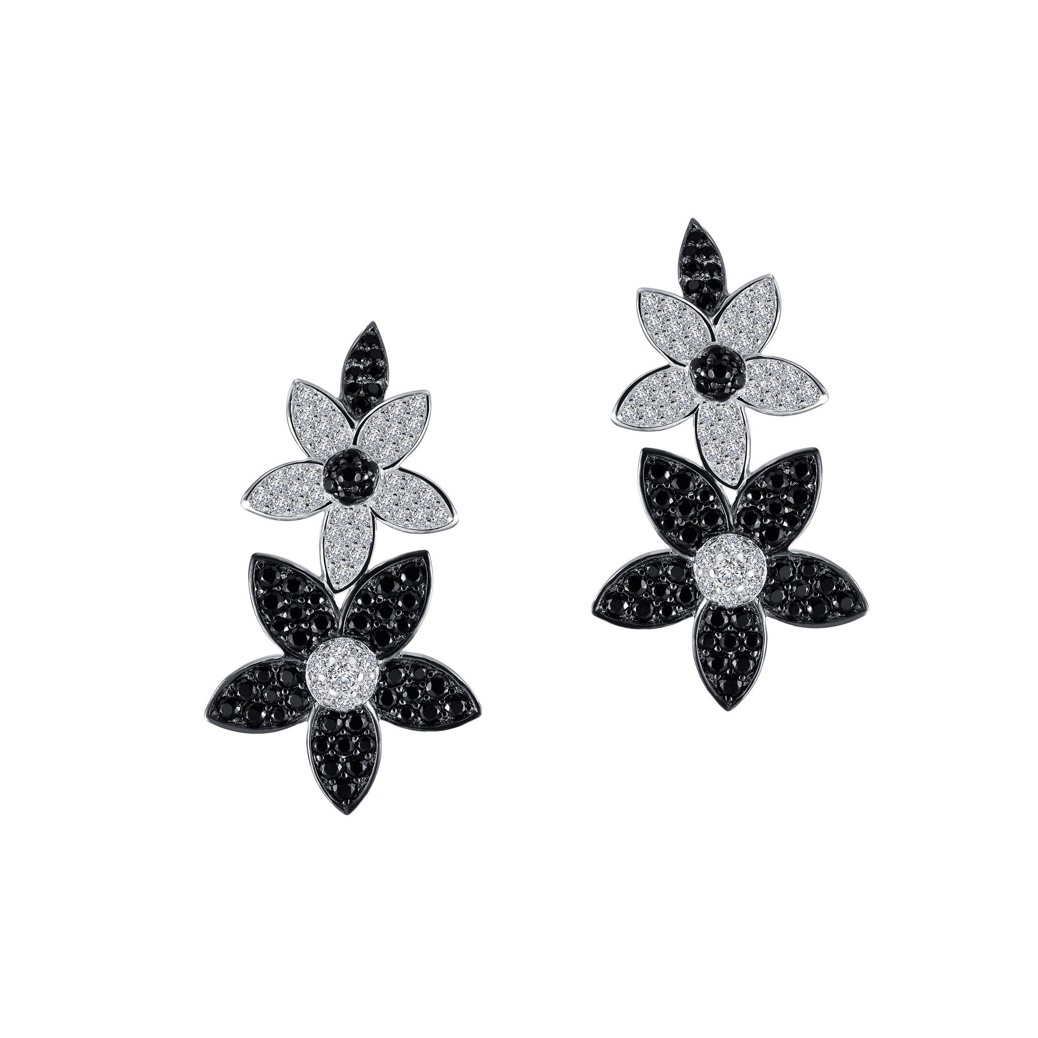 Double Flower Sterling Silver and Platinum Earrings