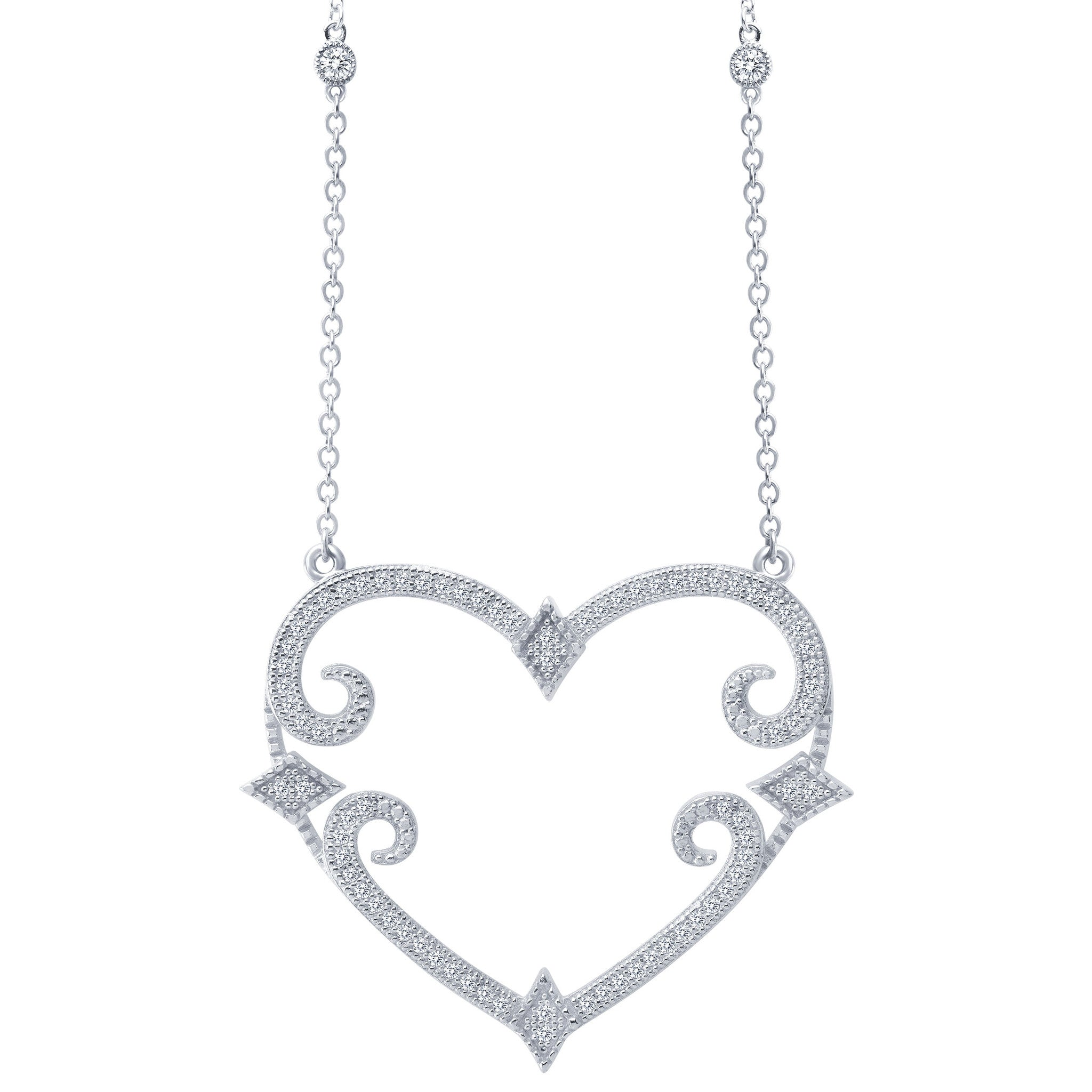 Art Deco Heart Sterling Silver and Platinum Necklace