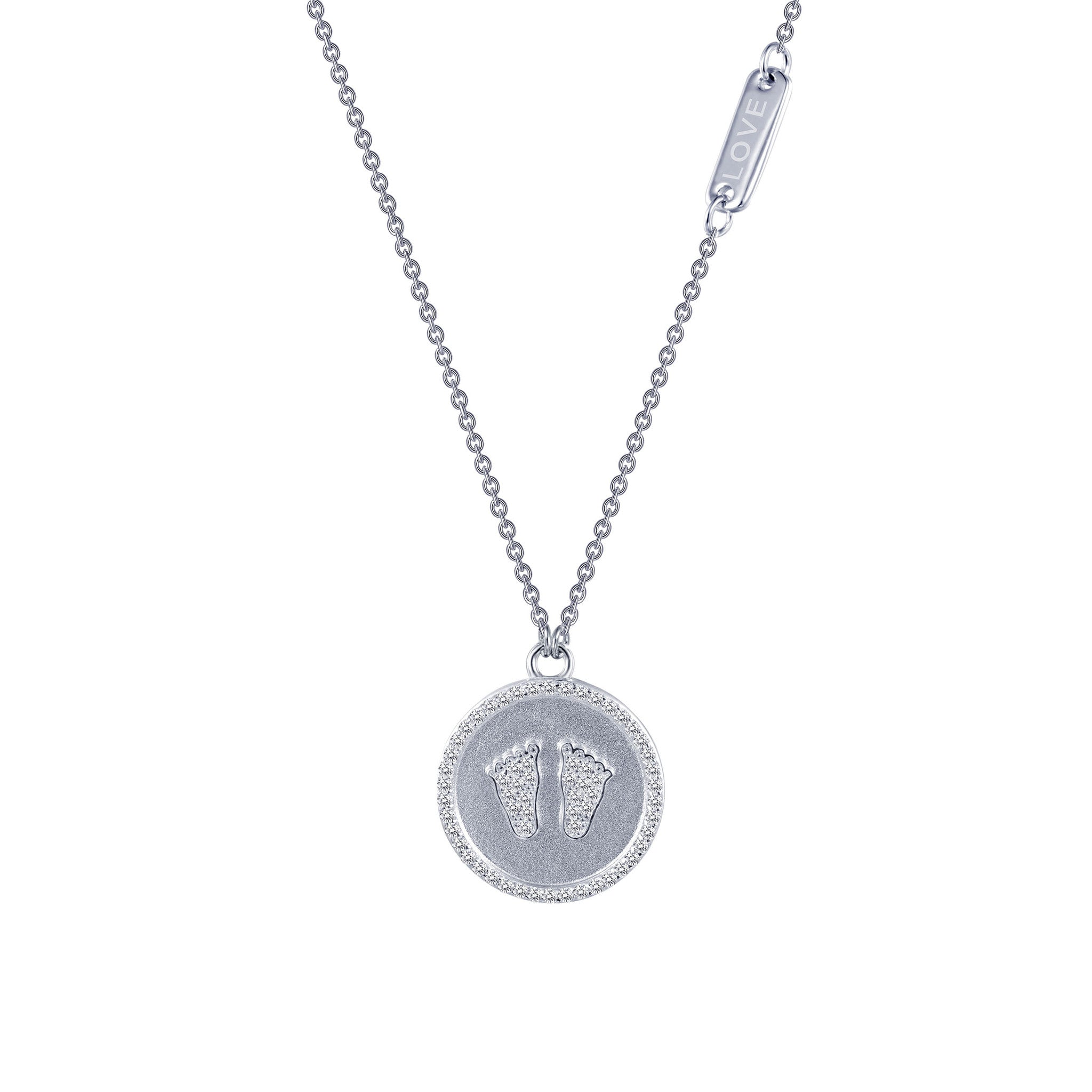 Baby Feet Sterling Silver and Platinum Necklace by Lafonn