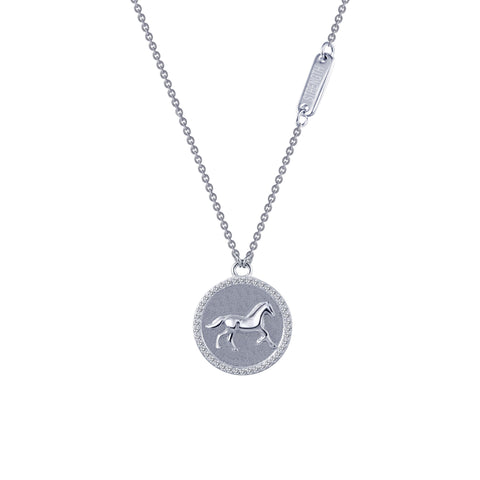 Equestrian Sterling Silver and Platinum Necklace by Lafonn