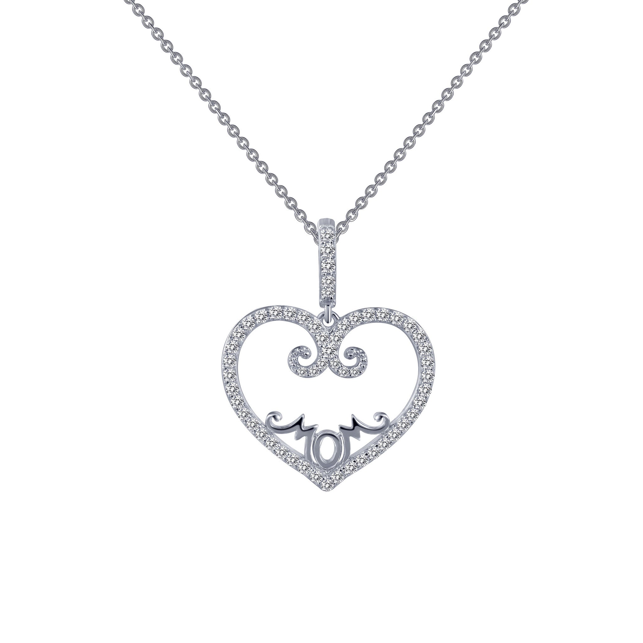 Sterling Silver and Platinum Mom's Heart Necklace