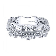 Anniversary White Gold Diamond Band with Filigree