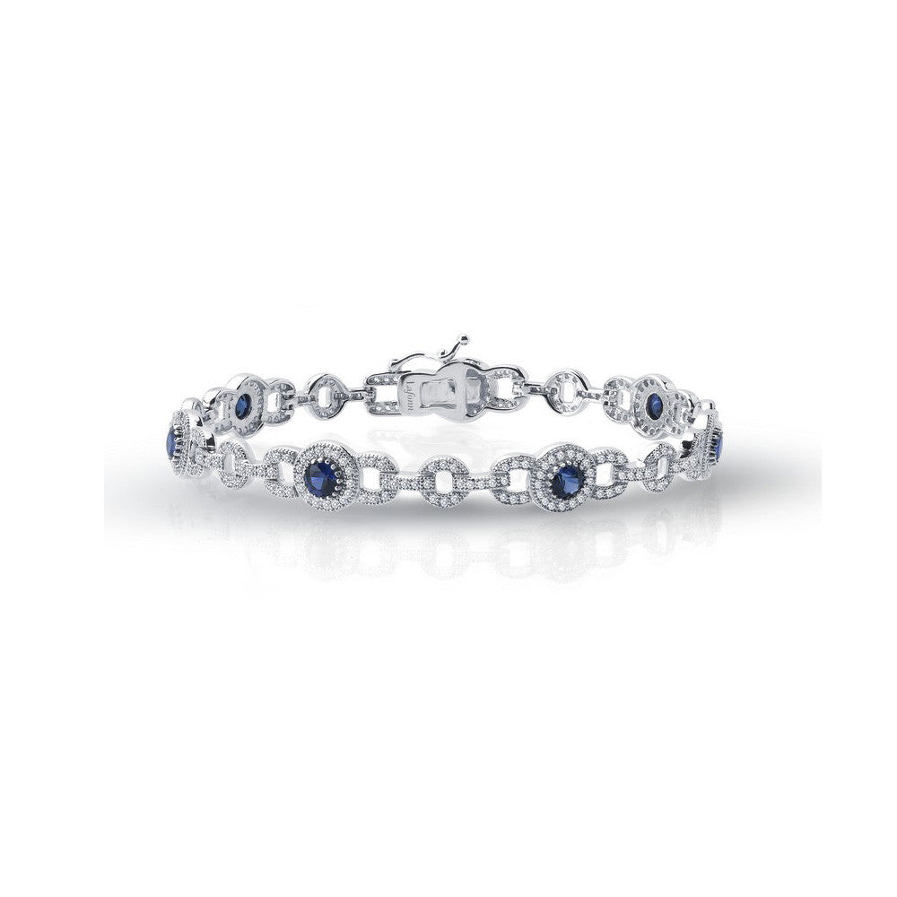 Sterling Silver and Platinum Lab Grown Sapphires Bracelet