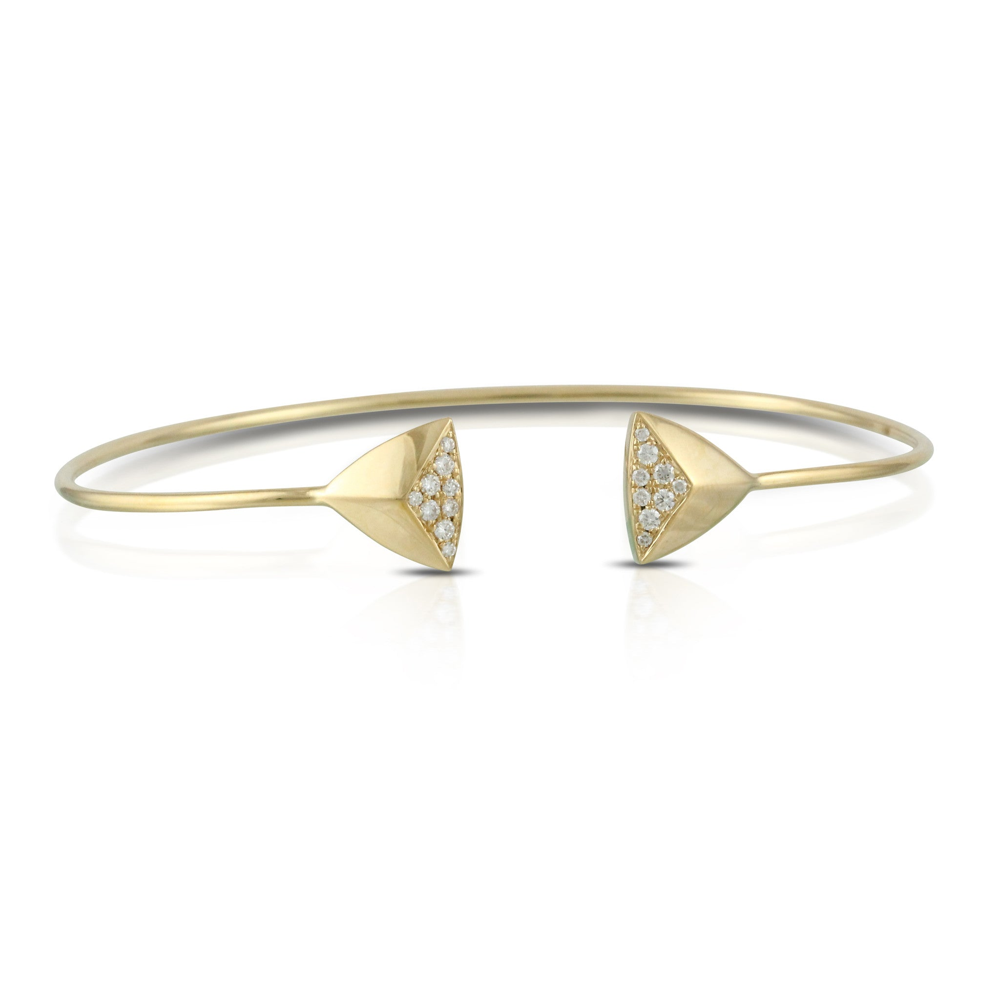 Doves Ladies' Art Deco 18k Yellow Gold Diamond Bangle by Jewelry Designer Doron Paloma
