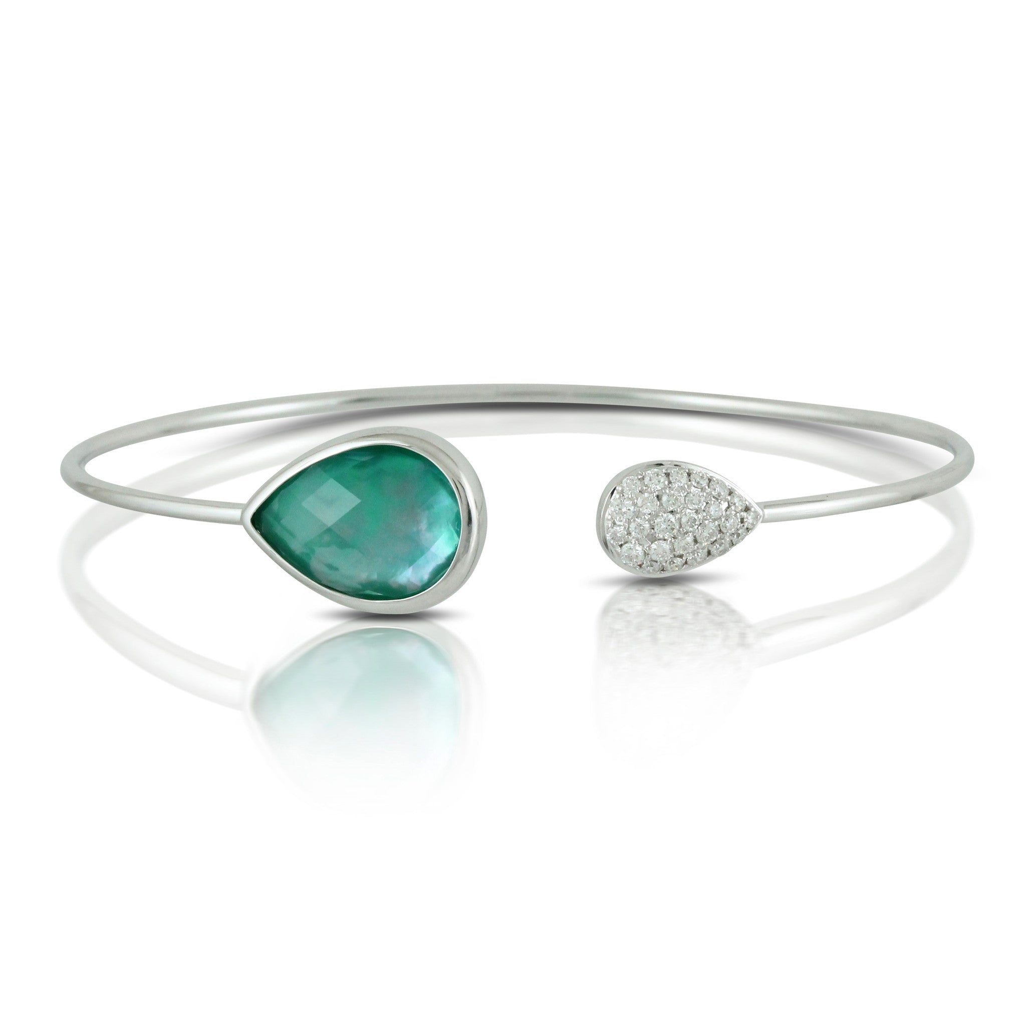 Doves Cypress Grove White Gold Bangle with Green Amethyst, Mother of Pearl and Green Agate