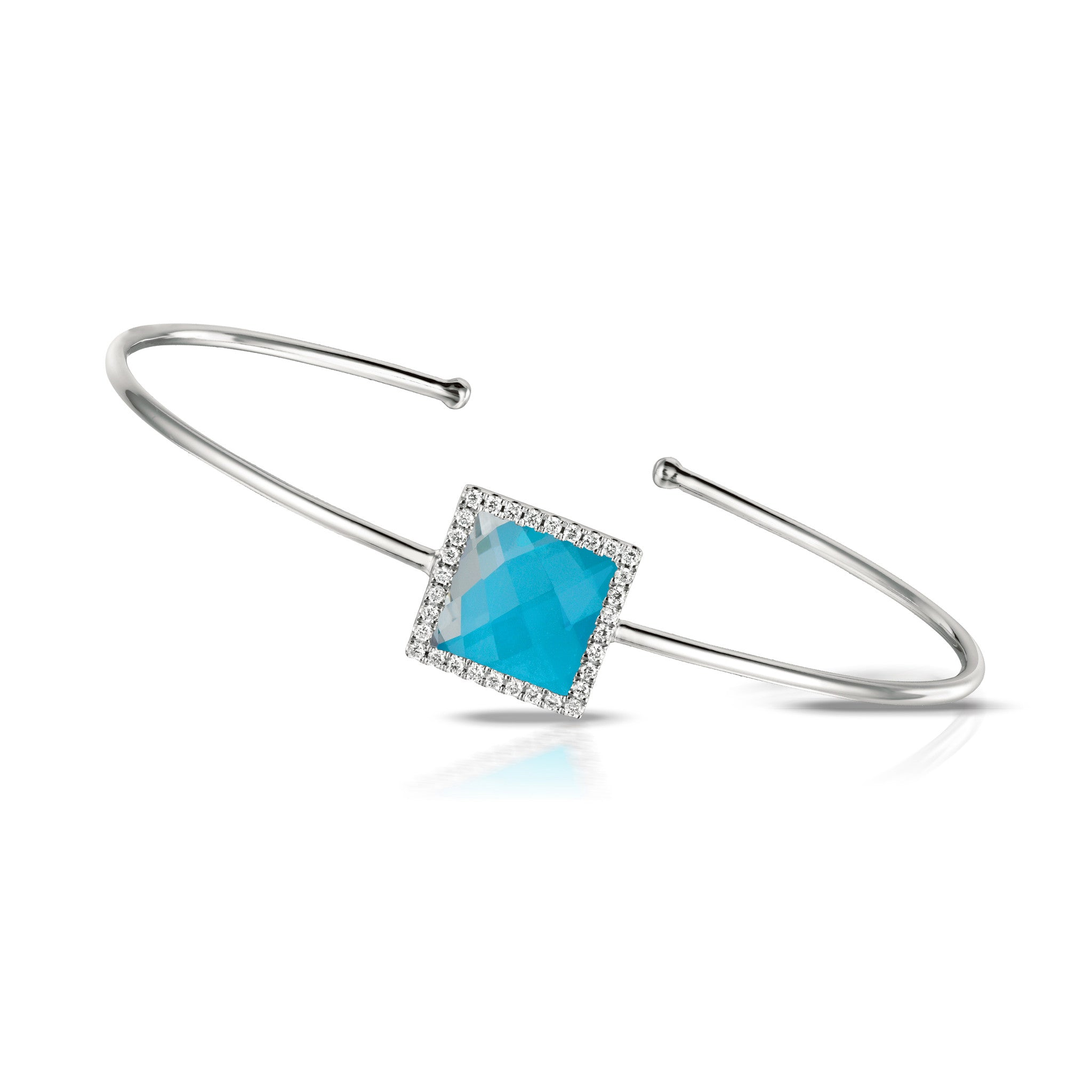 Doves St Barth White Gold Bangle with Turquoise, Clear Topaz and Pave Diamonds