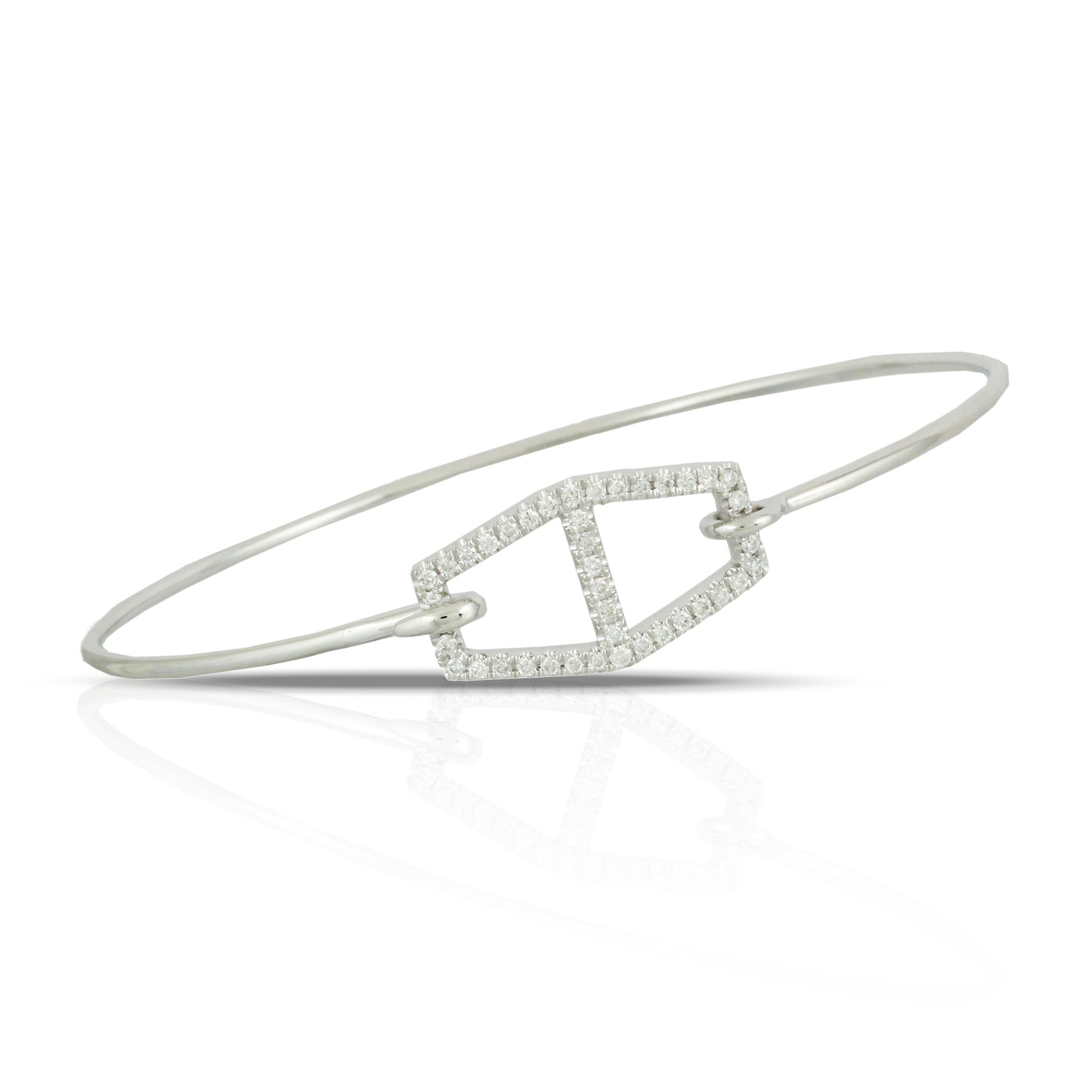 Doves Ladies' 18k White Gold Diamond Pave Bangle by Jewelry Designer Doron Paloma