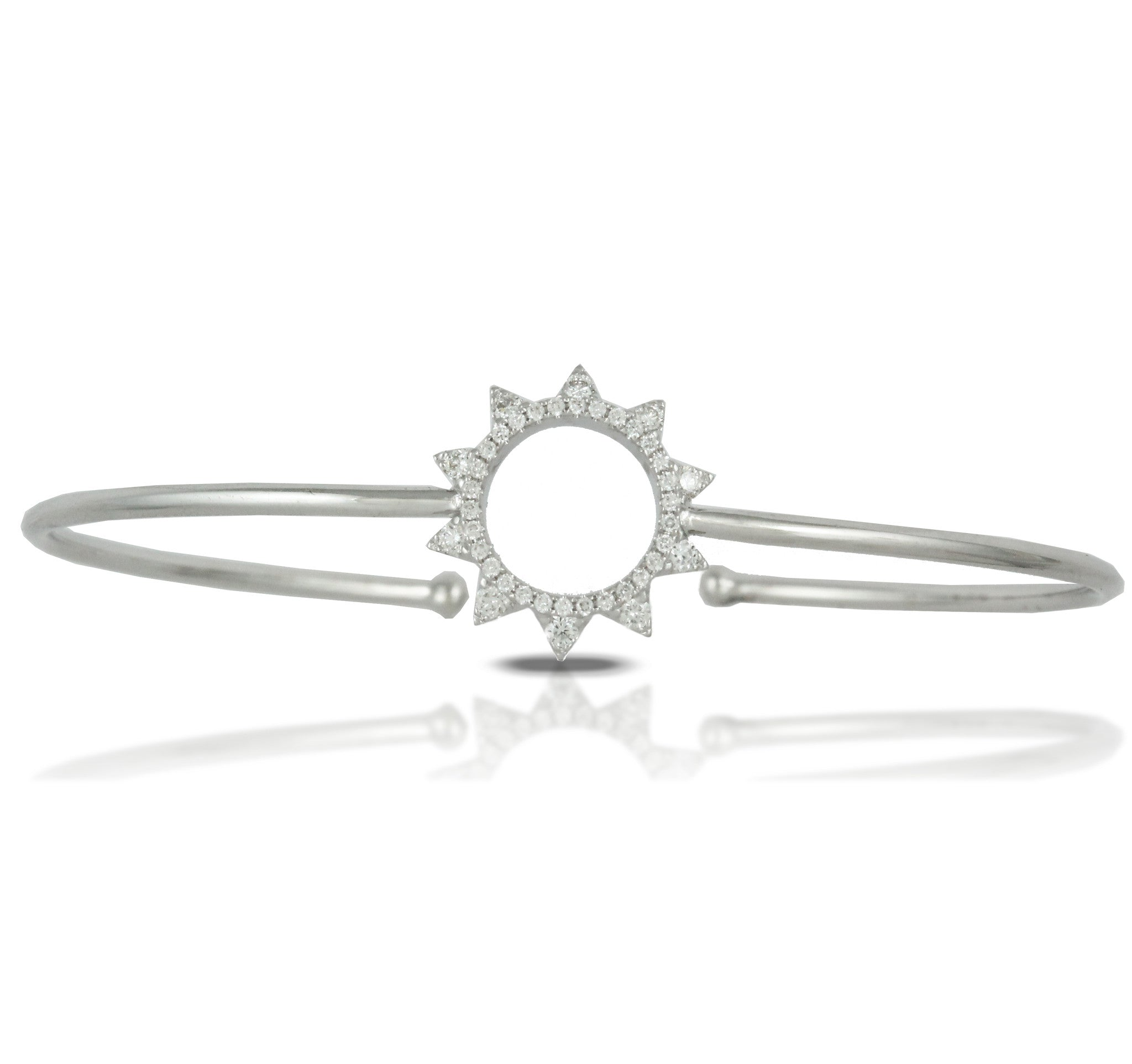 Doves Ladies' 18k White Gold Diamond Starburst Bangle by Jewelry Designer Doron Paloma