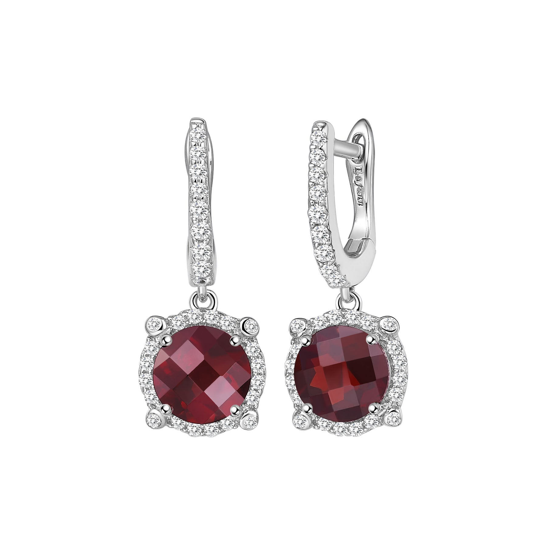 Sterling Silver and Platinum Mozambique Garnet Earrings by Lafonn