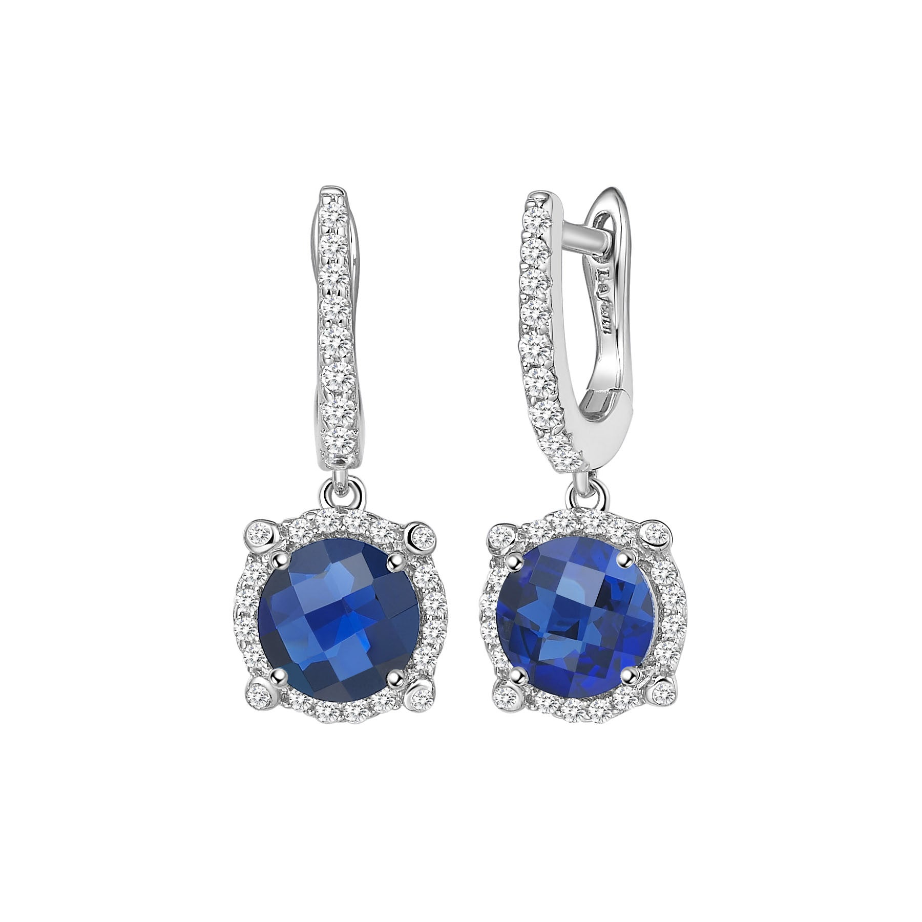 Sterling Silver and Platinum Lab Grown Sapphires Earrings
