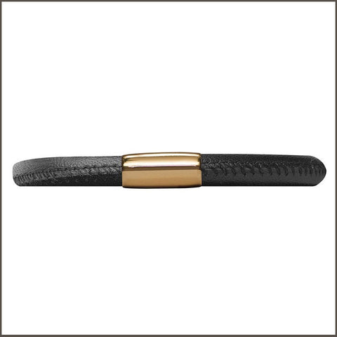 Endless Single Black Leather Bracelet with Sterling Silver and Rose Gold Plated Clasp