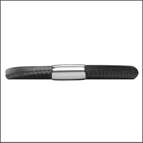Endless Personalized Collection Single Black Leather Bracelet with Sterling Silver Clasp