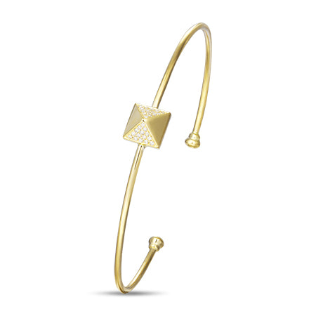 Yellow Gold Diamond Pyramid Bangle by Jewelry Designer Luvente