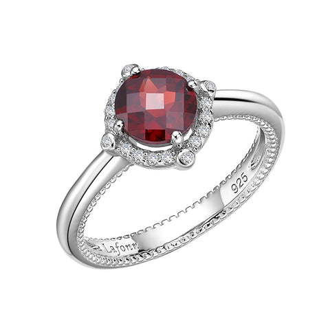 Sterling Silver and Platinum Mozambique Garnet Ring