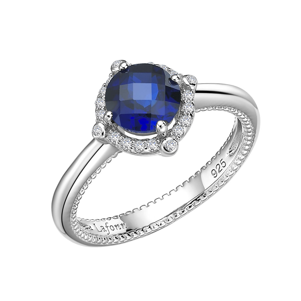 Sterling Silver and Platinum Lab Grown Sapphire Ring