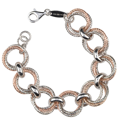 Sterling Silver and Rose Gold Link Bracelet