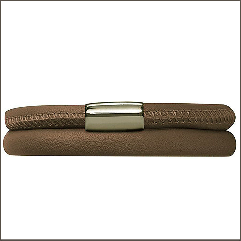 Endless Personalized Collection Double Dark Beige Leather Bracelet with Sterling Silver Clasp