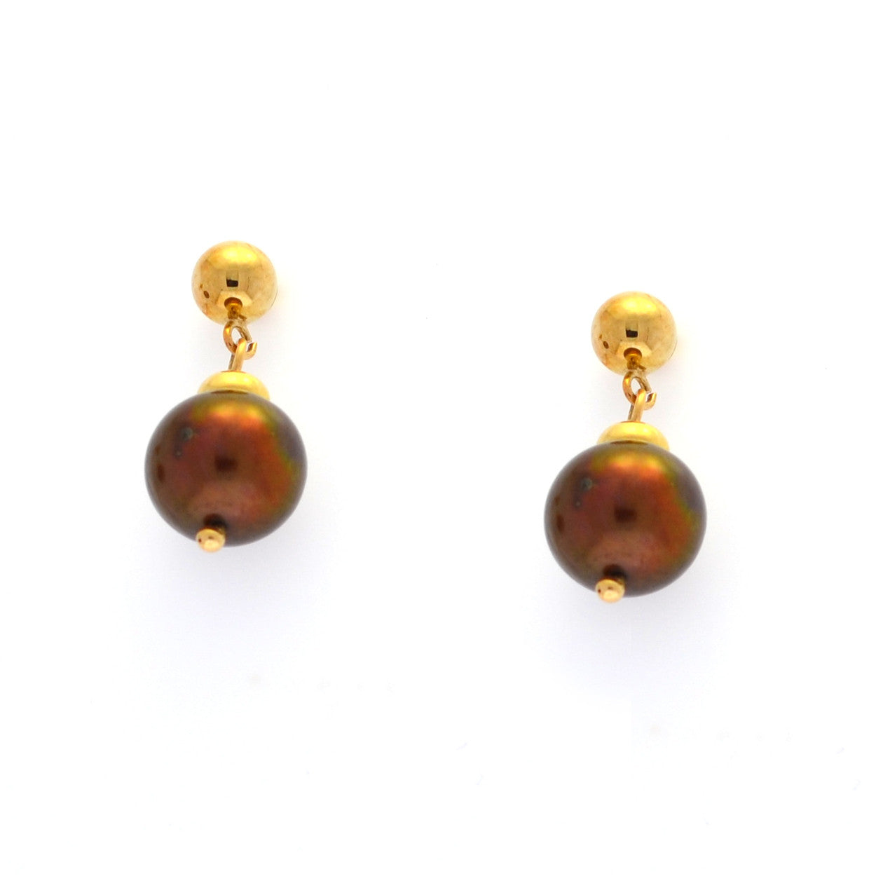 Chocolate Cultured Pearls in Yellow Gold
