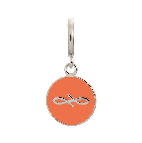 Endless Charm with Coral  Enamel Infinity Sign in Sterling Silver.