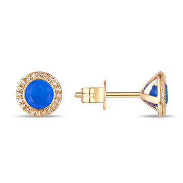 Rose Gold Blue Agate and Diamonds Stud Earrings