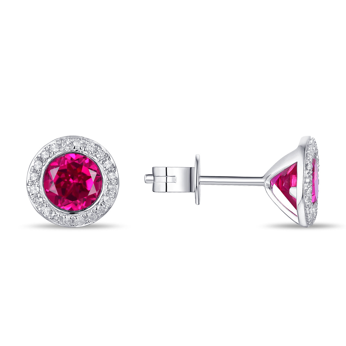 White Gold Red Corundum and Diamonds Fashion Earrings