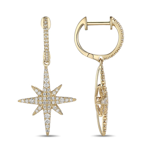 Yellow Gold Diamond Starburst Drop Earrings
