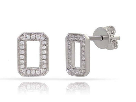 White Gold Diamonds Rectangular Earrings