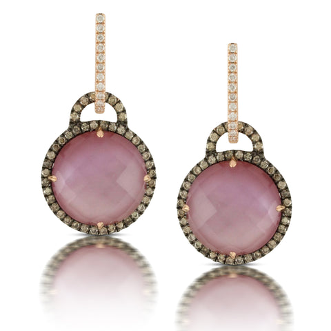 Doves Rose Gold Diamond Earrings with Amethyst and Mother of Pearl in Eighteen Carat