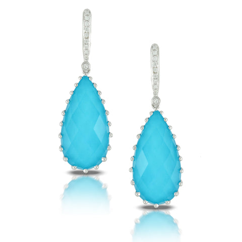 Doves St Barth's Blue 18k White Gold Earrings with Blue Turquoise, White Topaz, and Pave Diamonds