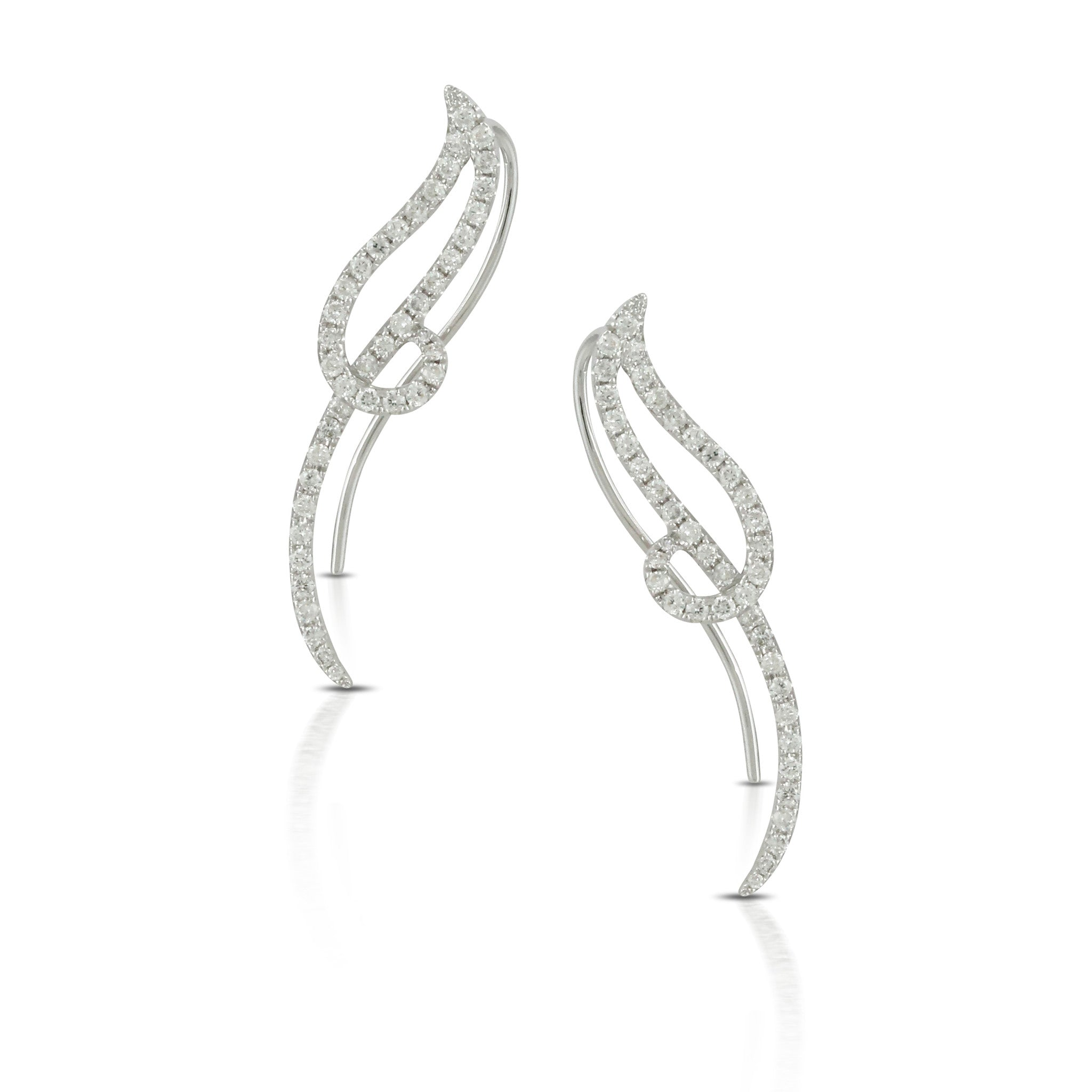 Doves Ladies' 18k White Gold Diamond Climber Earrings by Jewelry Designer Doron Paloma