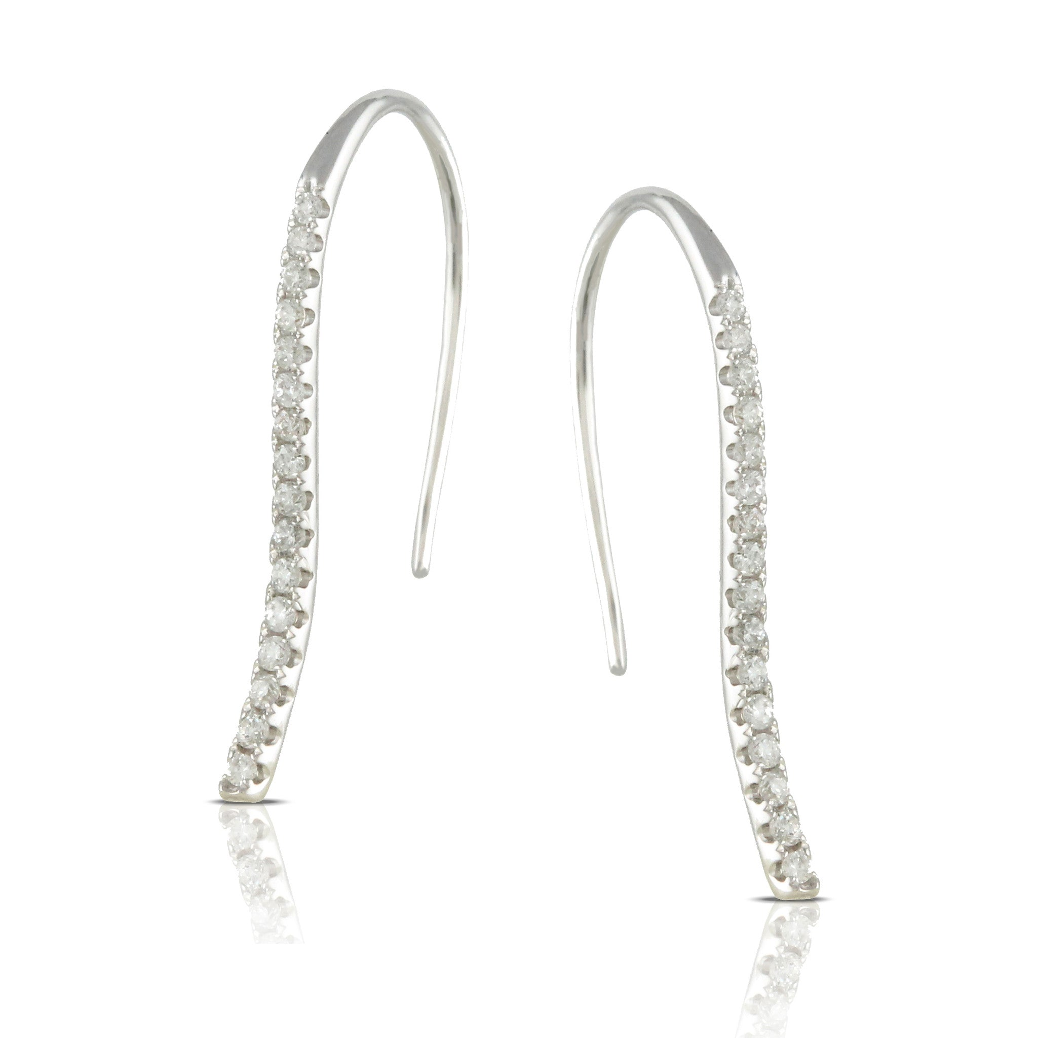Doves Ladies' 18k White Gold Diamond Pave Earrings in a Drop Style by Jewelry Designer Doron Paloma