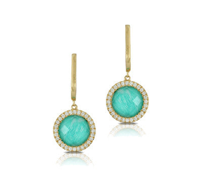 Doves Yellow Gold Amazonite, Diamonds, and White Topaz Earrings