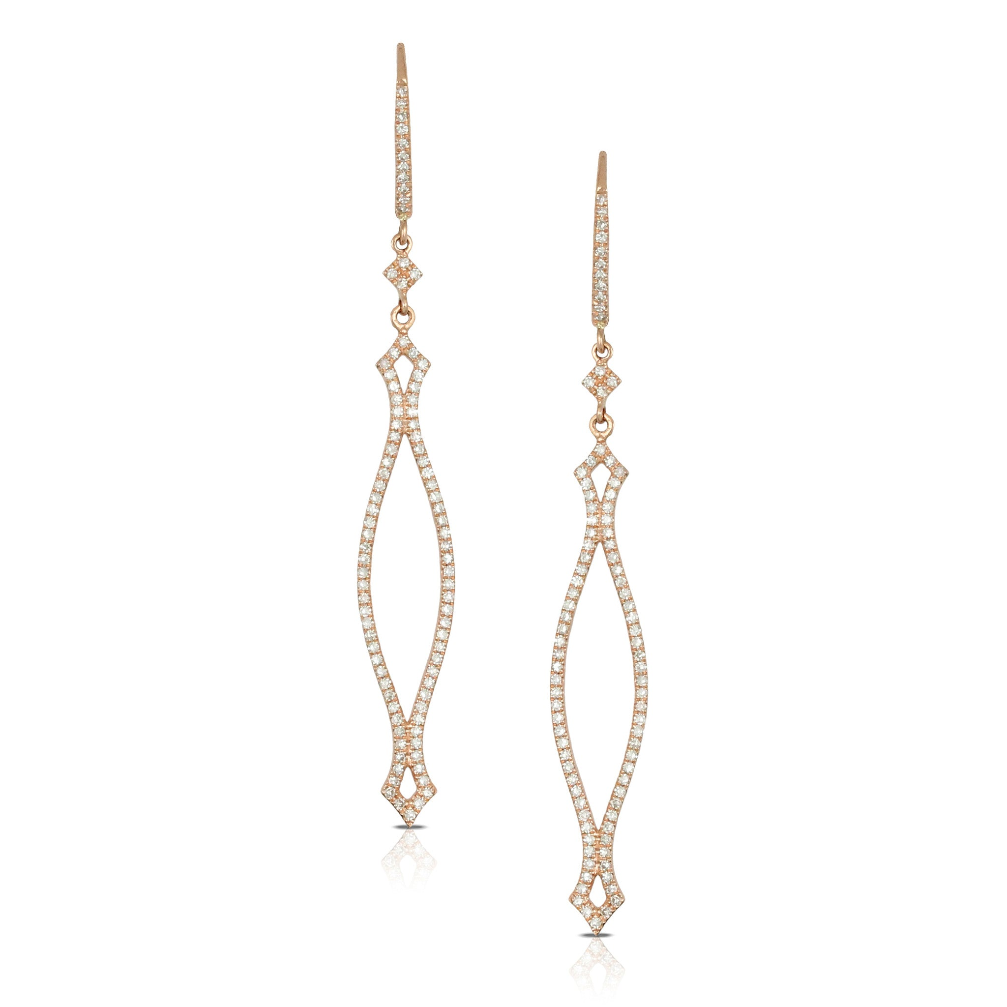 Doves Ladies 18k Rose Gold Diamond Earrings by Doron Paloma