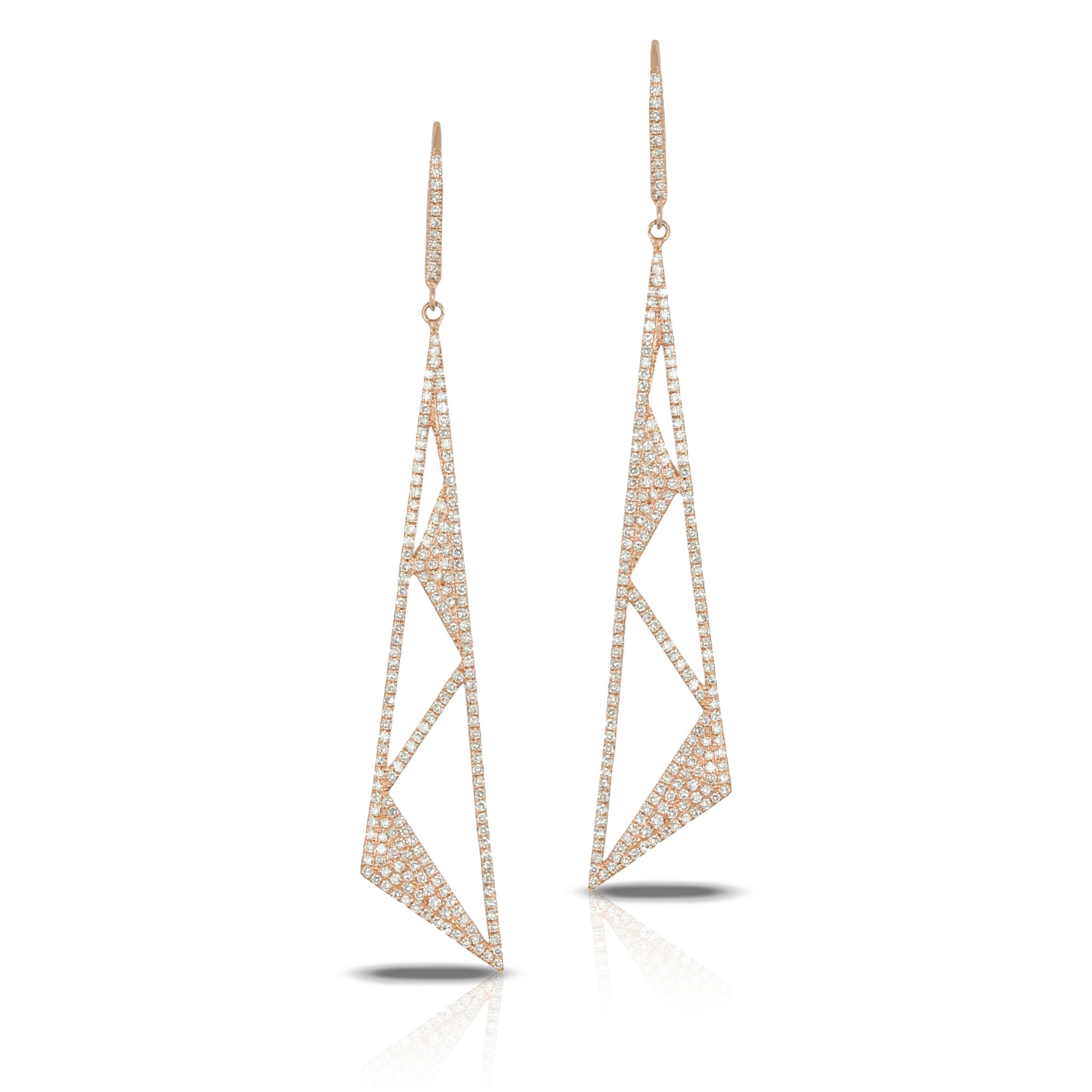Doves 18k Rose Gold Diamond Art Deco Drop Earrings by Jewelry Designer Doron Paloma
