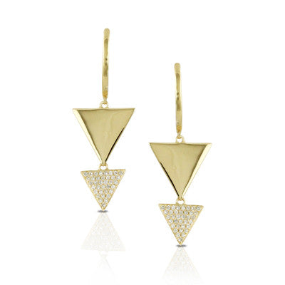 Doves Ladies 18k Yellow Gold Diamond Drop Earrings by Doron Paloma