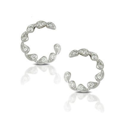 Doves Ladies White Gold Diamond Hoop Earrings