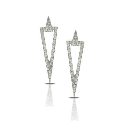 Ladies' 14k White Gold Diamond Pave Earrings