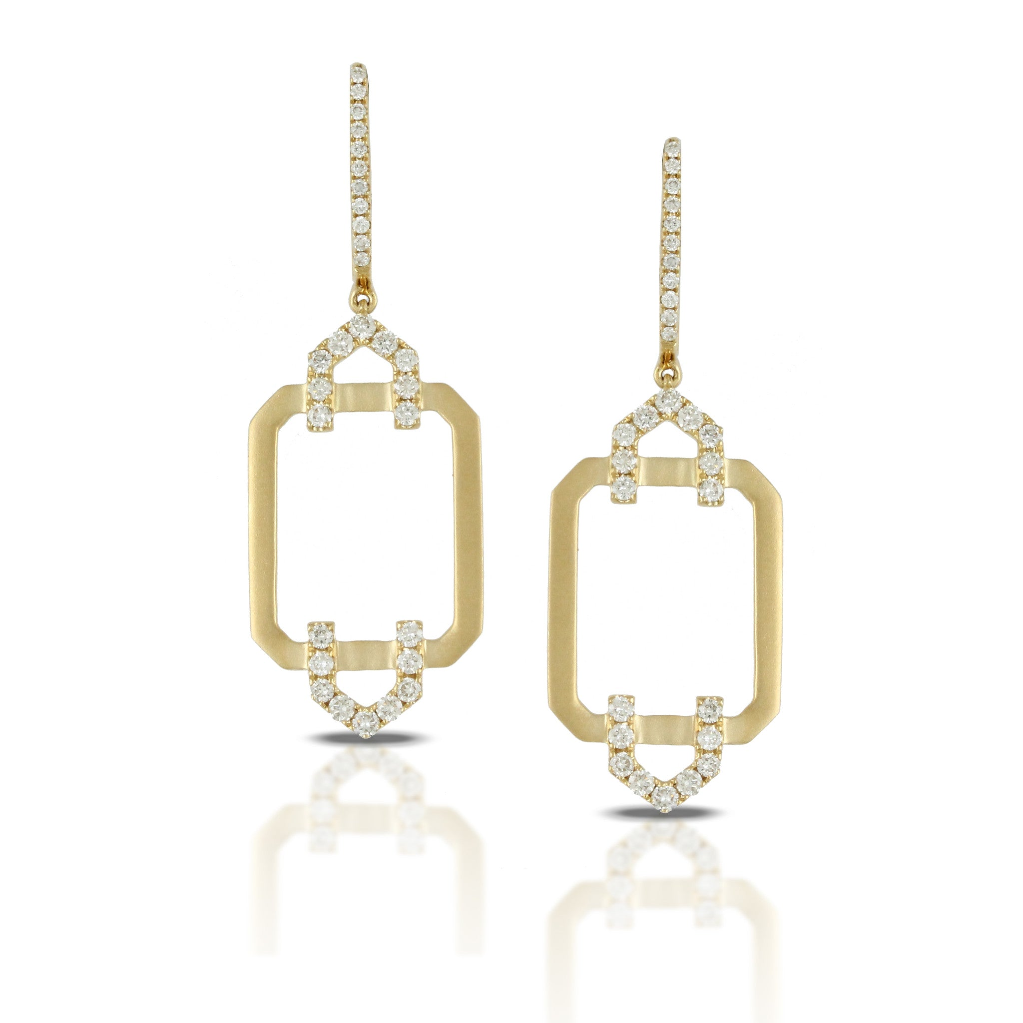 Doves Ladies 18k Yellow Gold Diamond Pave Earrings by Doron Paloma