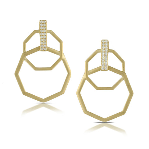 Doves 18k Yellow Gold Diamond Earrings by Jewelry Designer Doron Paloma