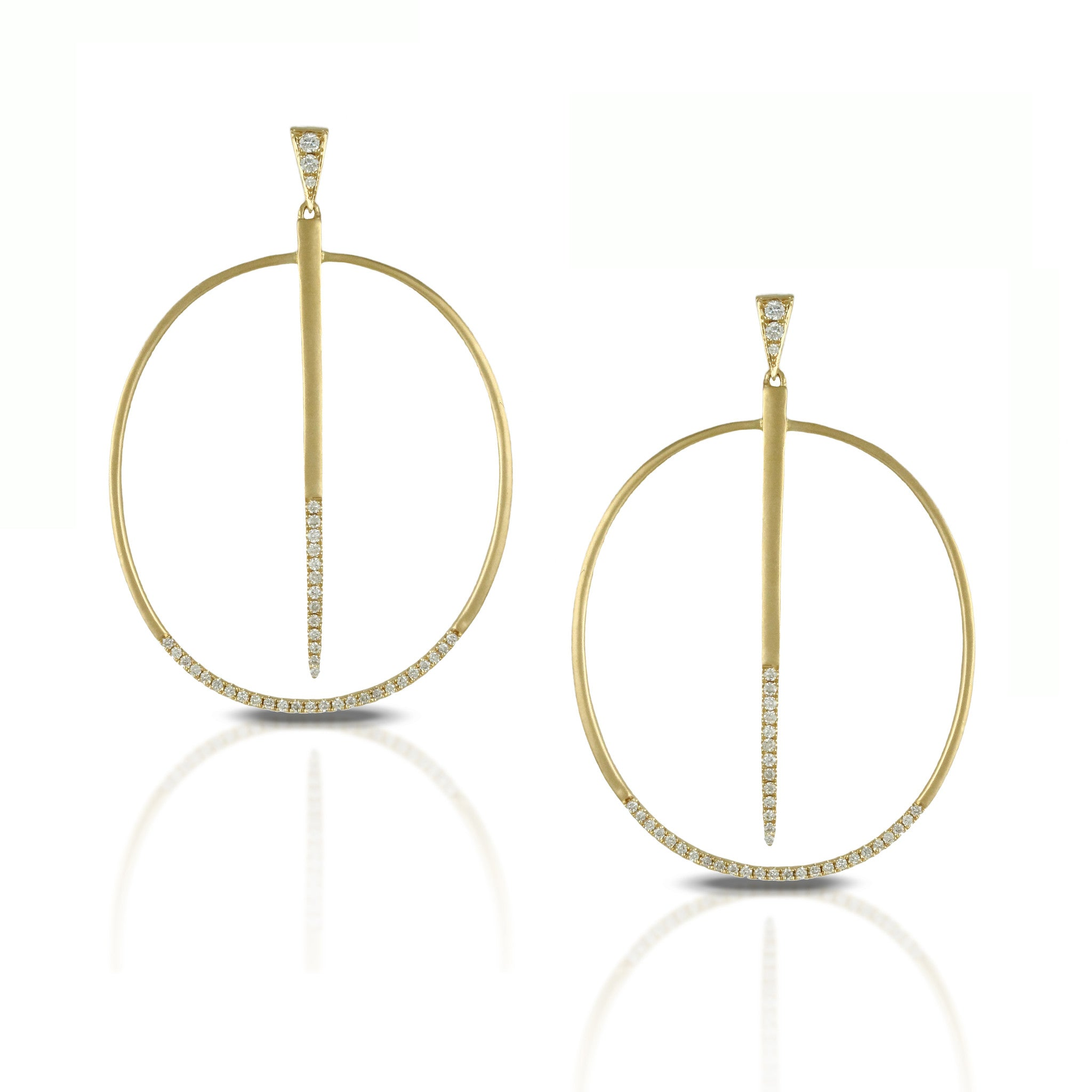 Doves Ladies 18k Yellow Gold Diamond Circle Earrings by Doron Paloma