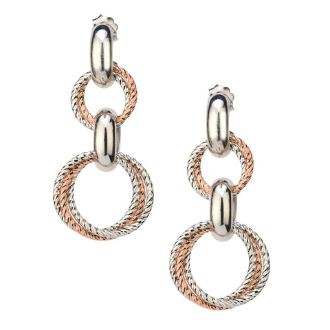 Sterling Silver and Rose Gold Drop Earrings by Frederic Duclos