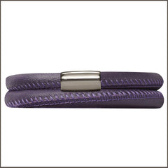 Endless Personalized Collection Leather Bracelet in Trendy Eggplant Purple with Sterling Silver Clasp