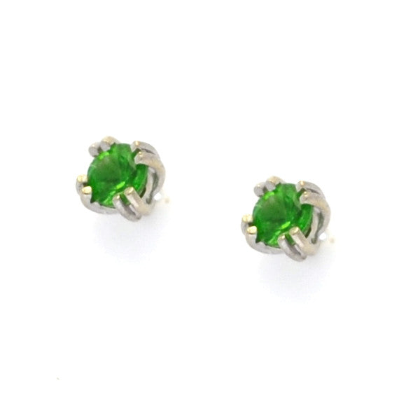 Emerald Stud Earrings in 14k White Gold