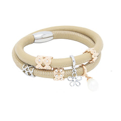 Endless Personalized Collection Double Off White Leather Bracelet