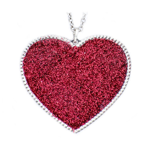 Sterling Silver Red Heart Druzy Pendant