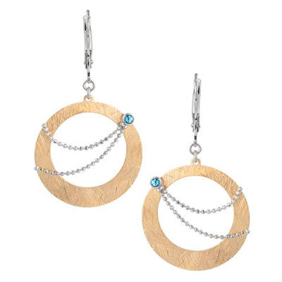 Sterling Silver and Gold Vermail Earrings with Blue Topaz