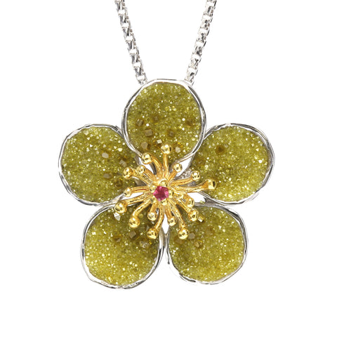 Crushed Yellow Diamonds and Sterling Pendant
