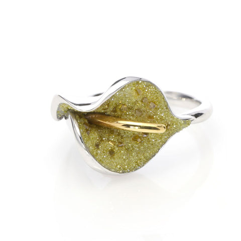 Crushed Yellow Diamonds and Sterling Ring