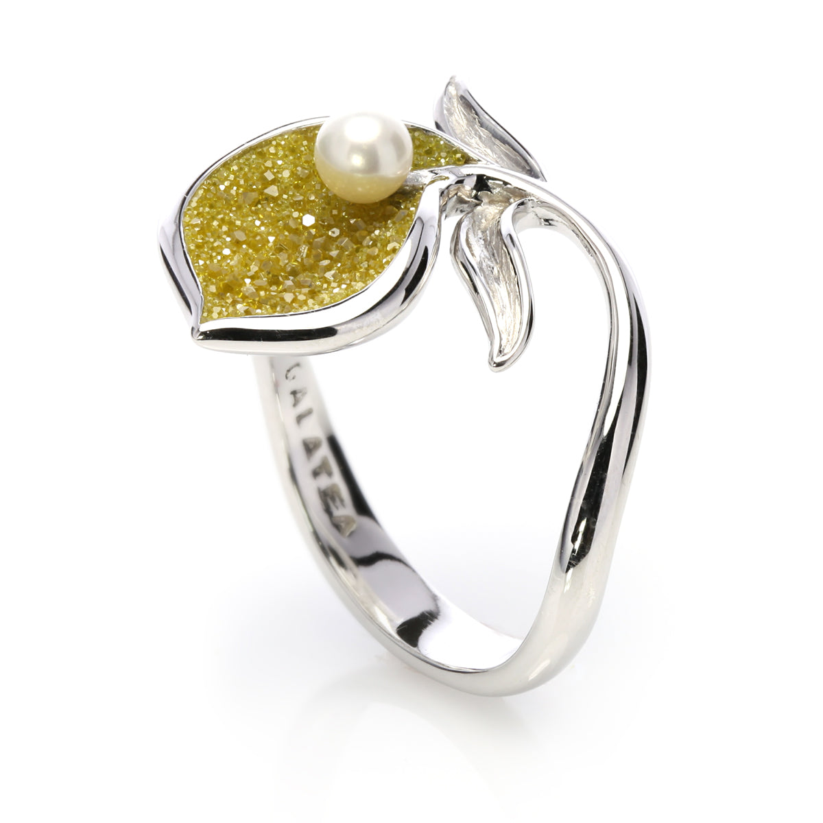 Crushed Yellow Diamonds, Pearl and Sterling Lily Ring