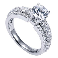 Triple Pave Solitaire Design Diamond Engagement Mounting